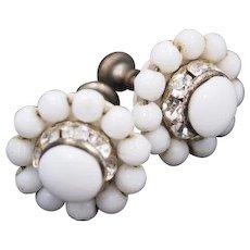 Milk Glass Earrings with Channel Set Rhinestones Art Deco Vintage Jewelry  SALE