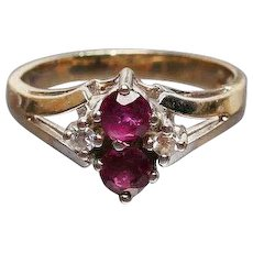 Ruby with Diamond Ring, 14K Gold, Art Deco Vintage Jewelry