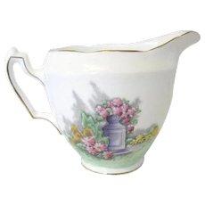China Creamer Garden Decor Green Pink Lilac, Adderley, 1950s Kitchenware Vintage