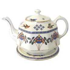 Art Deco Octagonal 6 Cup Teapot with Stand, Gibsons, English China, Vintage Kitchenware SUMMER SALE