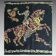 "Hermes Silk Scarf, ""Cheval Fleuri"" Henri d'Origny, Equestrian Gift SPRING SALE"