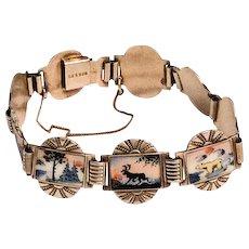 Guilloche Enamel Bracelet, Scandinavian, Sterling Silver, David Andersen Vintage SALE