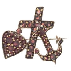 Bohemian Garnet Brooch, Victorian Garnet, Faith Hope Charity Pin, Vintage Jewelry SPRING SALE