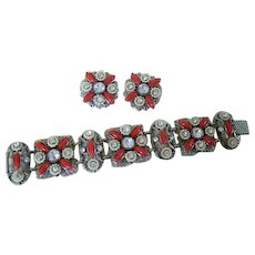 Selro Bracelet with Earrings Set, Pearl, Rhinestone, Lucite, 1950s Vintage Jewelry SUMMER SALE