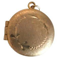 Victorian Engraved Gold Tone Locket Pendant, Vintage Jewelry SUMMER SALE