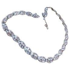 Art Deco Necklace, Glass, Rhinestone Bogoff 1940s Designer Vintage Jewelry SUMMER SALE