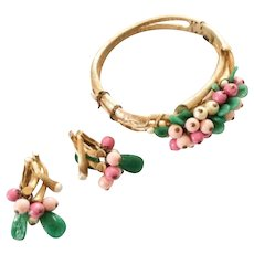Art Deco Celluloid Bangle Bracelet with Earrings, Green with Pink Beads, Gold Tone Vintage Jewelry Set SUMMER SALE