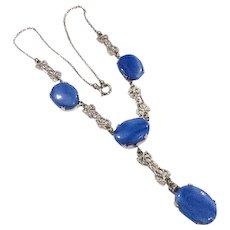 Blue Czech Glass Necklace, Lapis Lazuli, Satin Glass, Pendant Lavalier Necklace, Art Deco 1920s Vintage Jewelry SUMMER SALE