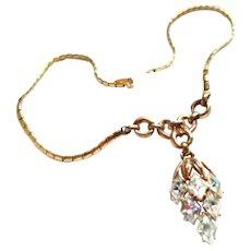 Trifari Art Deco Rhinestone Pendant Necklace 1940s Vintage Jewelry SUMMER SALE