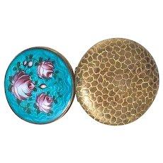 Art Deco Turquoise Guilloche Enamel Compact