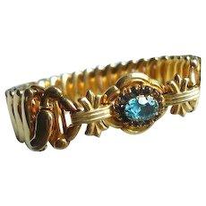 Art Deco // Retro Blue Glass Expansions Bracelet, Designer Bojar, Vintage Jewelry SUMMER SALE