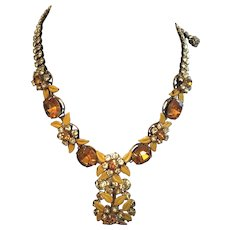 Kramer of New York Glass Necklace Vintage Jewelry