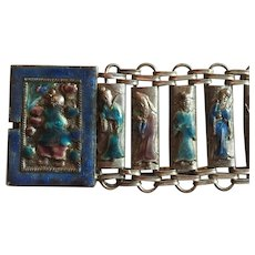 Chinese Enamel Bracelet, Immortals, Art Deco Vintage Jewelry