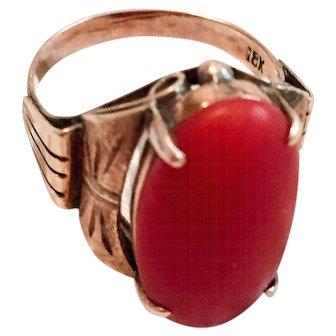 Art Deco Ring, Natural Red Coral, 18K Gold Vintage SALE