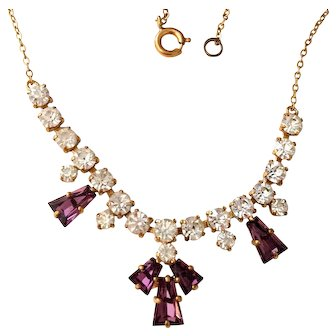Amethyst Glass with Clear Rhinestone Necklace 1960s Vintage Jewelry SALE