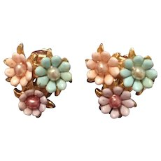 Lucite Daisy Earrings, Pastel Pink, Blue, Amethyst, 1960s Vintage Jewelry