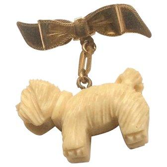 Carved Bakelite Scottie Dog, Dangle Brooch, 1930s Vintage Jewelry SALE
