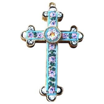 Italian Cross Pendant, Mosaic, Blue, Pink, White, Green, Vintage Jewelry