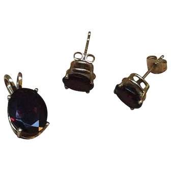 Garnet Pendant with Earrings, 14K and 10K Gold Vintage Jewelry SALE