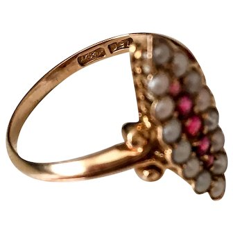 Ruby with Seed Pearls Ring, 18K Gold