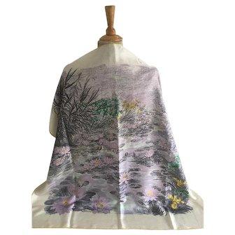 Vintage Silk Scarf, Amethyst Water Lily, Made in Switzerland