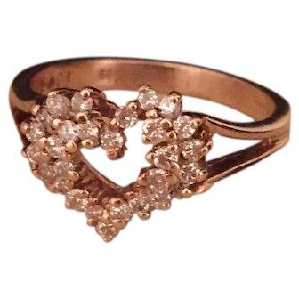 Diamond Heart Shaped Ring, 14K Gold, Vintage Jewelry