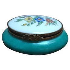 Turquoise Green Limoges Trinket Box with Hand Painted Flowers, Vintage