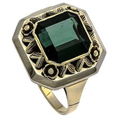 Green Tourmaline Ring, 14K Gold, Art Deco Vintage Jewelry