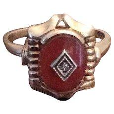 Carnelian Ring, Edwardian Period, Egyptian Revival, 10K Gold