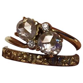 18K Gold Diamond Ring, By-pass, Toi et Moi
