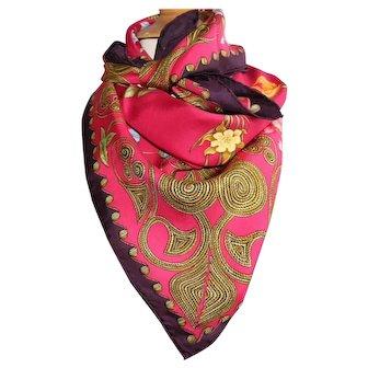 Hermes Pink Silk Scarf, Arabesques Henri d'Origny, Floral