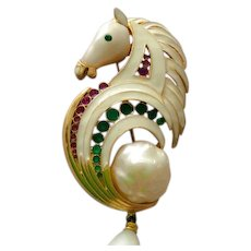 SOLD Hattie Carnegie Baroque Pearl Poured Glass Horse Pendant or Brooch