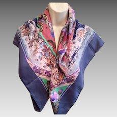 Hermes Purple Silk Scarf, Zebras