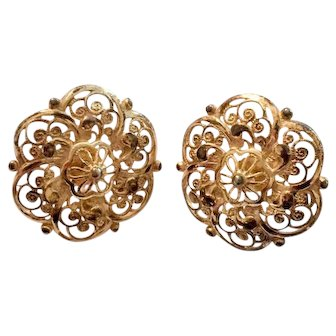 Alice Caviness Gold Filigree Earrings
