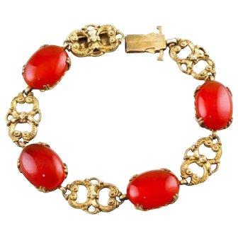 Art Deco Carnelian Bracelet, Sterling Silver, Vintage