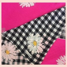 Echo Silk Scarf, Daisies, Black White Check
