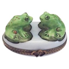 Limoges Trinket Box, Green Frogs on Blue Base, Hand Painted, Vintage Collectible