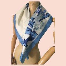 Jim Thompson Silk Scarf, Irises, Blue Flowers, Ladies Fashion