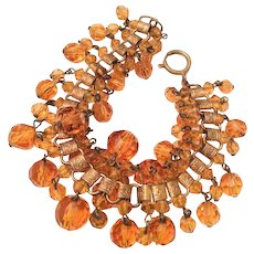 Amber Glass Bracelet, Art Deco Book Chain, Vintage Jewelry
