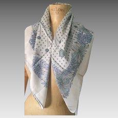 Jacqmar Grey Silk Scarf, Stylised Flowers, Botanical