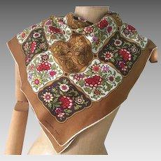 Thirkell Scarf, Potager Silk Scarf, Golden Floral Sara Leighton, Vintage