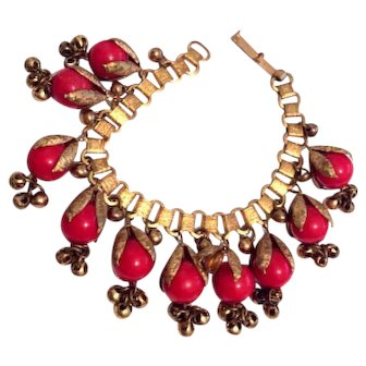 Red Celluloid Bead Bracelet, Brass Bells, Book Chain, Art Deco Vintage Jewelry