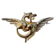 18K Gold French Griffin Pin or Brooch, Art Nouveau Jewelry