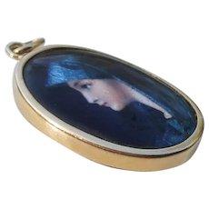 Limoges Lady Portrait Pendant, 18K Gold, French Enamel Vintage Jewelry