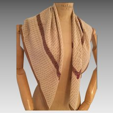 Chanel Silk Scarf, Brown with Cream, French Script