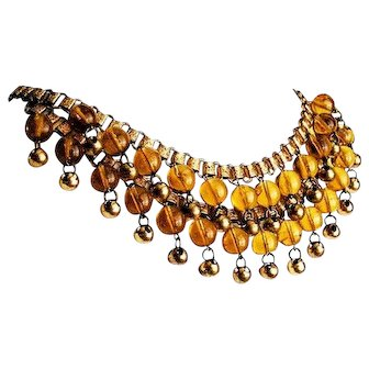 Amber Glass Art Deco Necklace