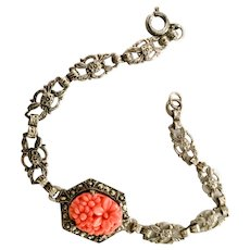 Coral Glass Bracelet, Sterling Silver, Art Deco Vintage Jewelry