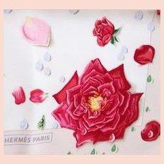 Hermes Vintage Silk Scarf, Floral Theme La Rosée (The Dew), Pink Roses