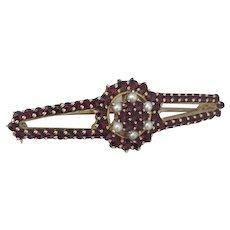 Bohemian Garnet Pearl Brooch, Victorian Antique Jewelry