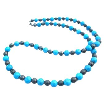 Turquoise Hematite Bead Necklace 1960s Sterling Silver Mexican Vintage Jewelry